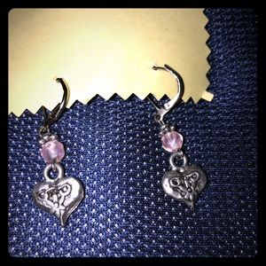 Vintage pierced earrings w/Amethyst stones